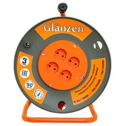 Удлинитель силовой на катушке GLANZEN 4 гн. ПВС 2х1,5 арт. EB-50-006