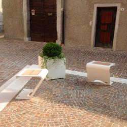 Парковая скамейка цвет Белый со вставками