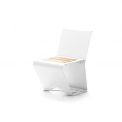 Парковая скамейка цвет Белый с вставками со списнкой